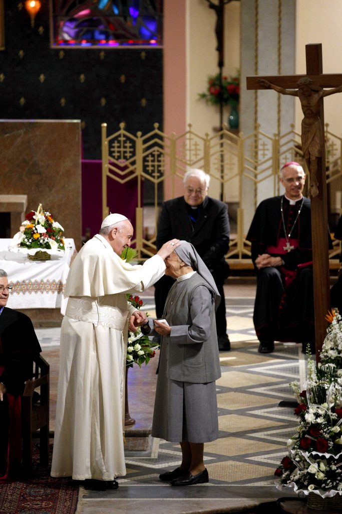 Pope Francis blesses a religious sister during a meeting with priests, religious men and women and the ecumenical Council of Churches at the cathedral in Rabat, Morocco, 31 March 2019. Photo: Paul Haring/CNS.