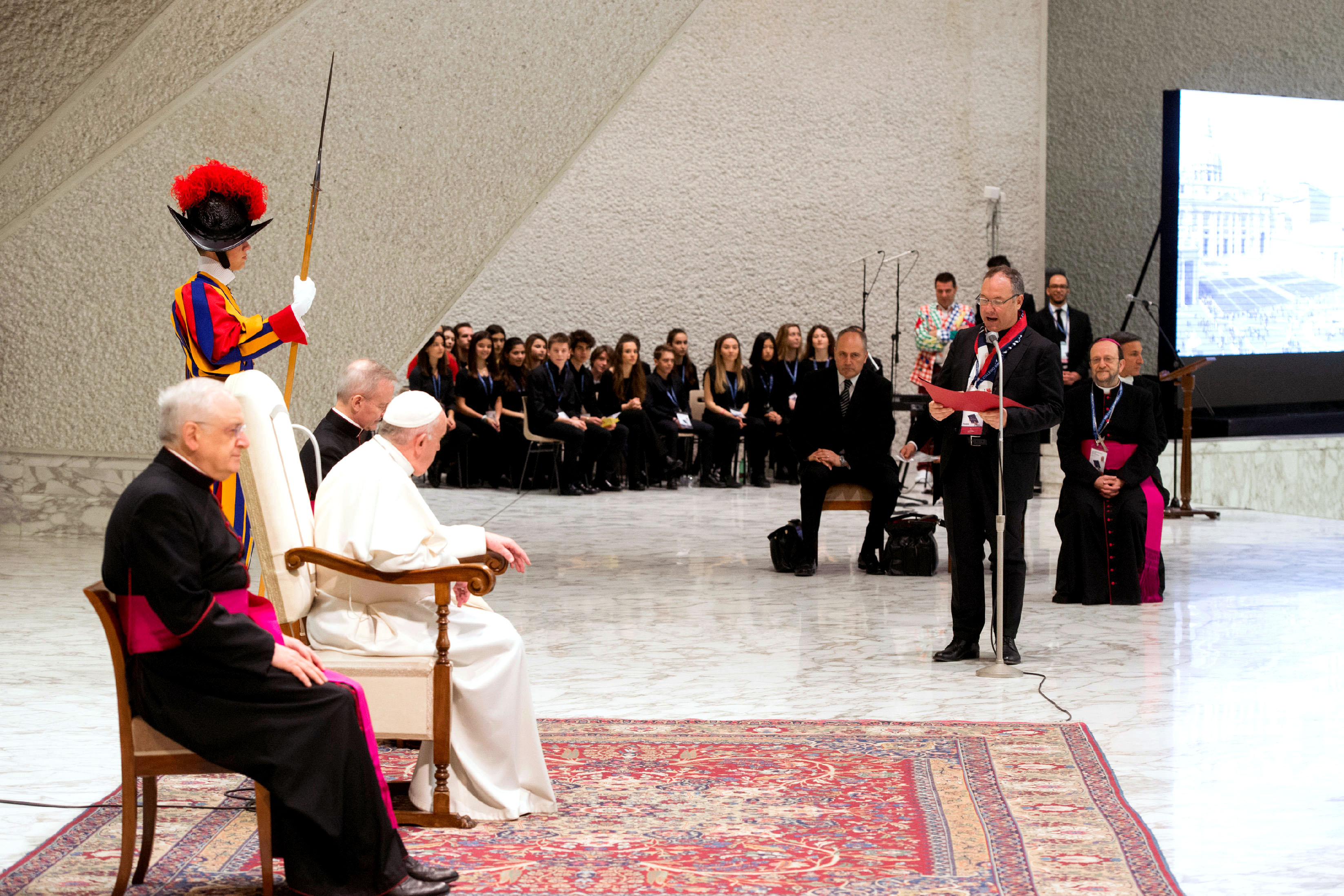 Pope Francis meets with students and staff from Milan's Istituto San Carlo during an audience at the Vatican on 6 April 2019. Photo: Vatican Media/CNS.