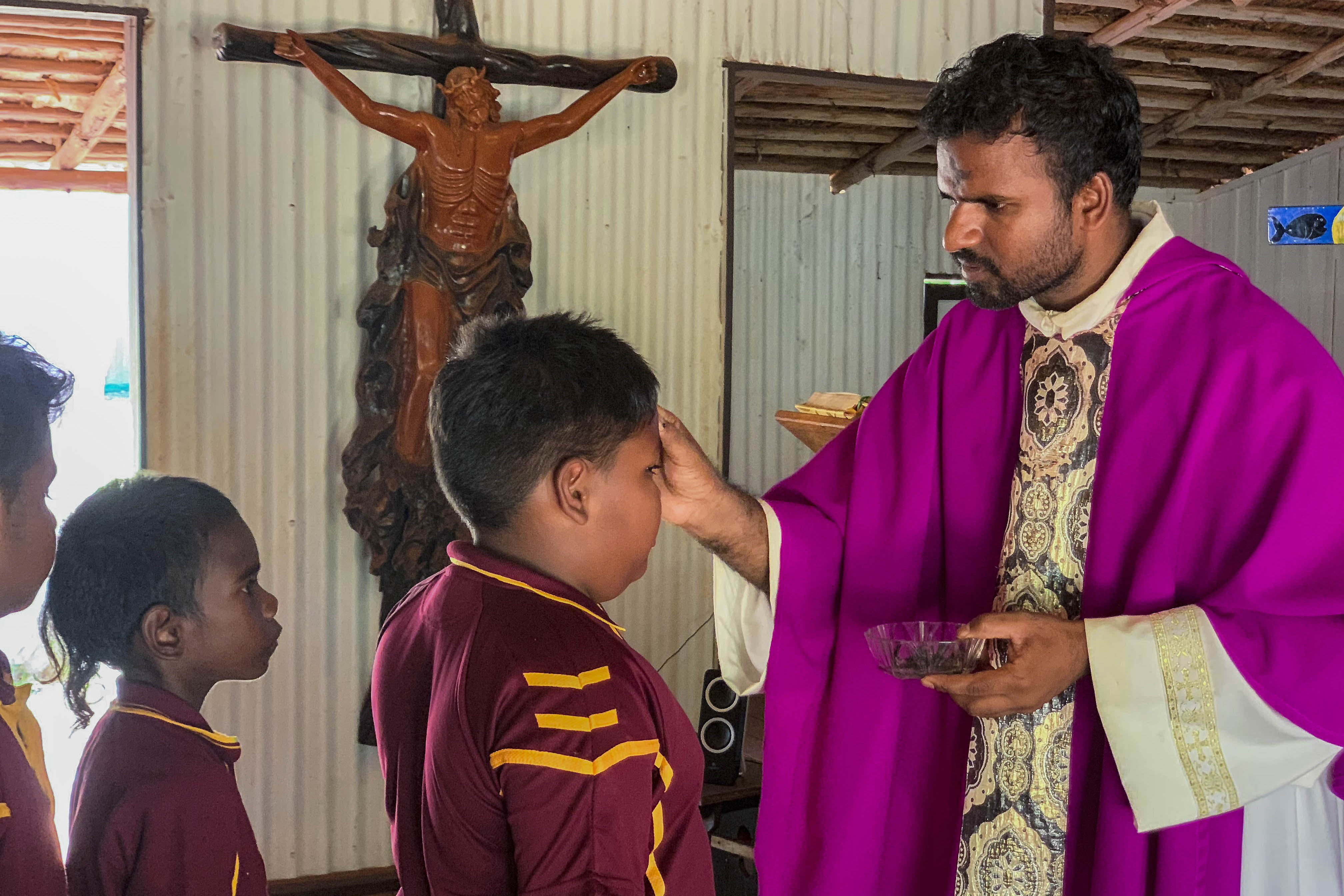 Broome Diocese priest Fr John Bosco at Christ the King Church in Lombadina. Photo: Supplied.