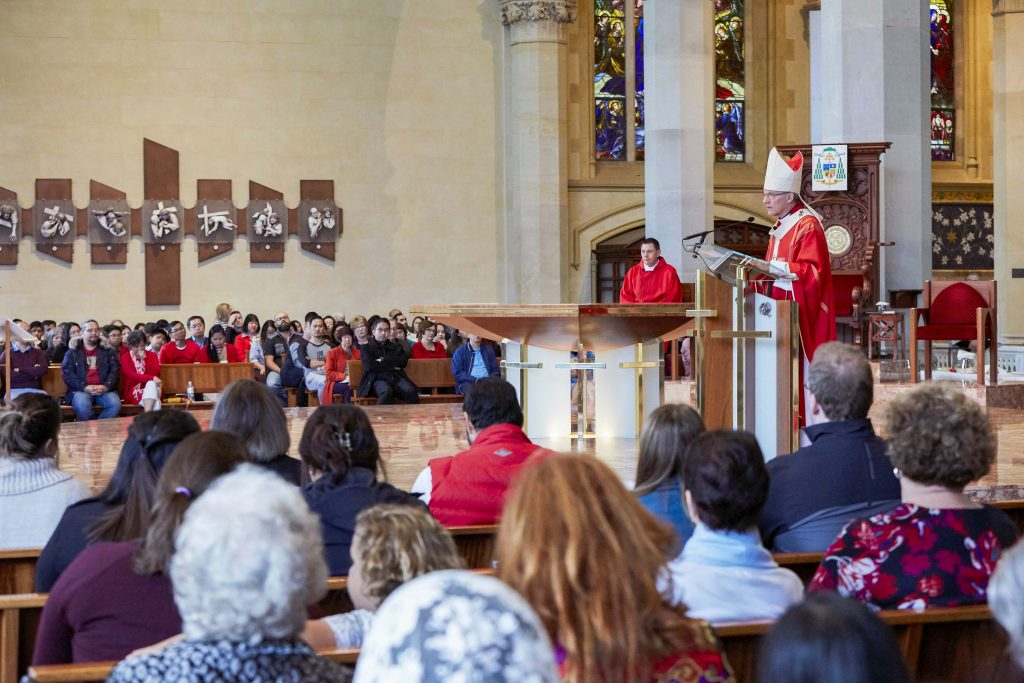 Archbishop Timothy Costelloe SDB delivers his homily during the Lord's Passion at St Mary's Cathedral on 19 April. Photo: Ron Tan.