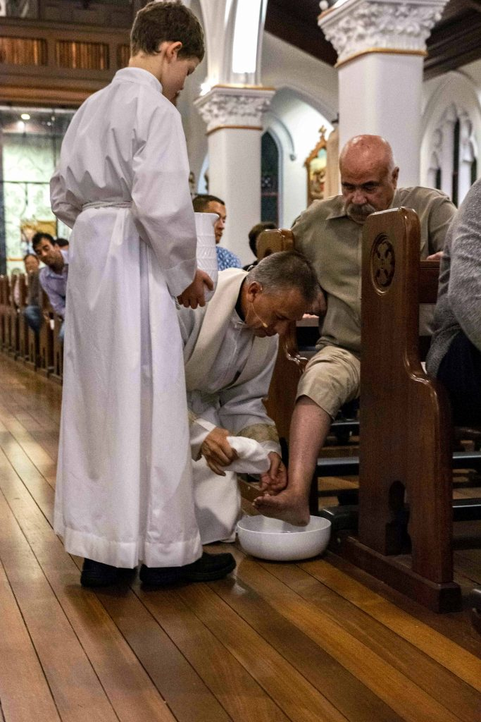 Northbridge Parish Priest Fr John Piumatti celebrated Maundy Thursday with a washing of the feet ceremony at Northbridge Parish St Brigid's Church. Photo: Olivia Bunter.