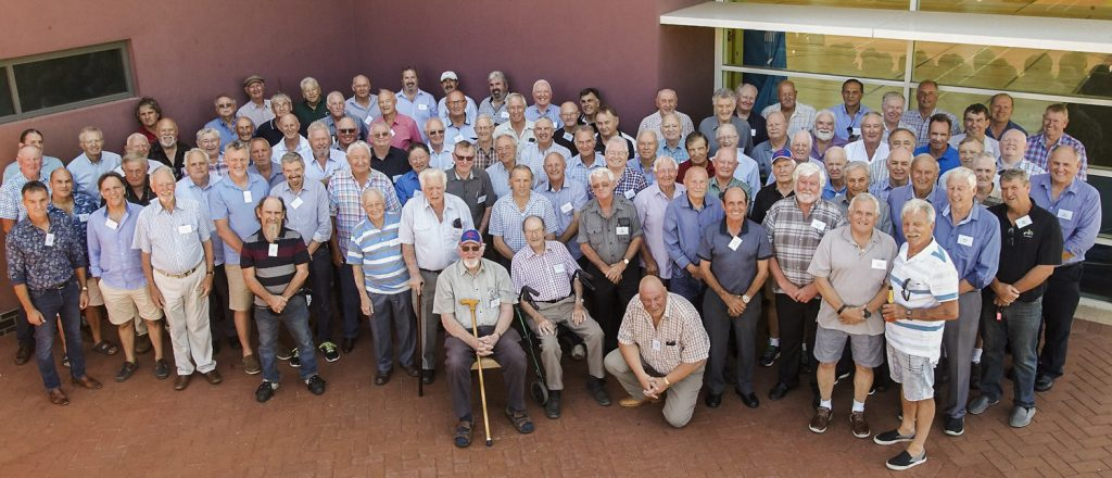 The Old Boys of Christian Brothers College Kalgoorlie are reunited at Aquinas College for the first time in 15 years. Photo: Supplied.
