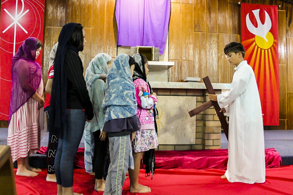 On Good Friday, 19 April, children of Cloverdale Parish led the Stations of the Cross, enacting the 14 stations. Photo: Sunil Rodrigues.