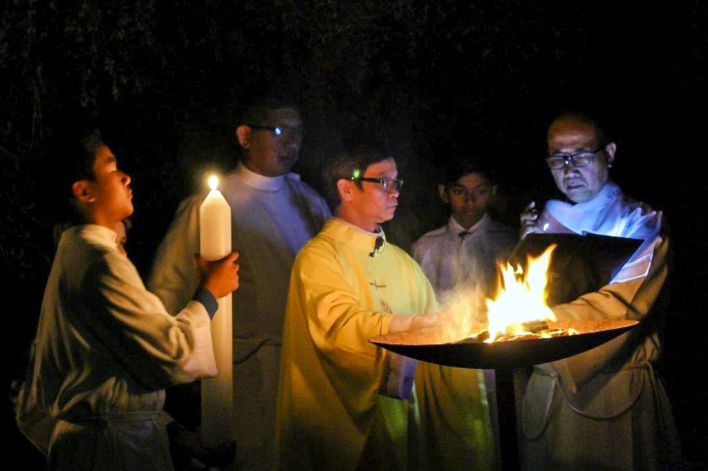Easter Vigil was celebrated with the blessing of the new fire. Photo: Sunil Rodrigues.