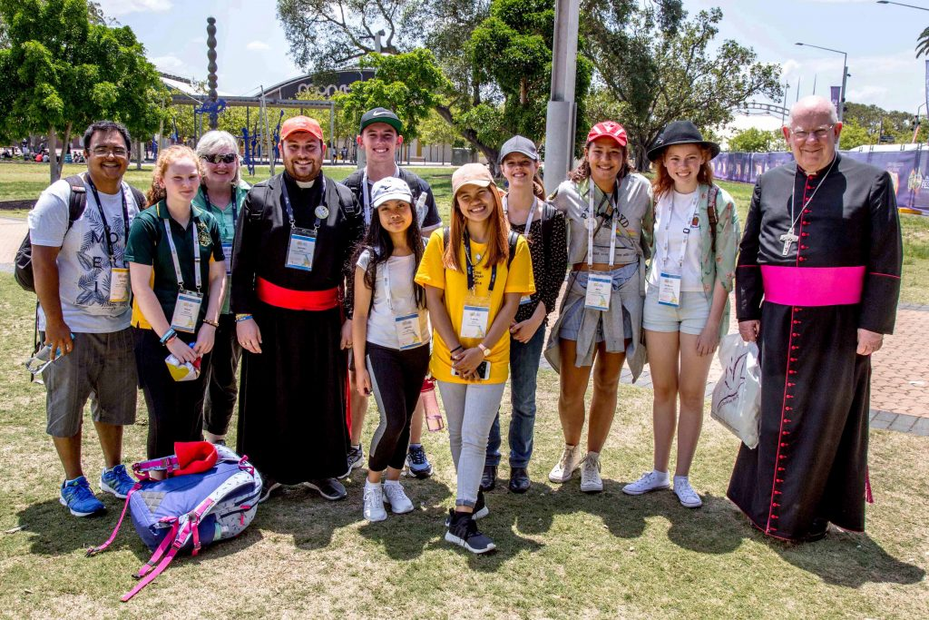 In his 2019 Easter message, Bunbury Bishop Gerard Holohan says the trials of all of us are the trials of Christ. Bishop Holohan is pictured with youth from the Diocese of Bunbury at the 2017 ACYF. Photo: Jamie O'Brien.