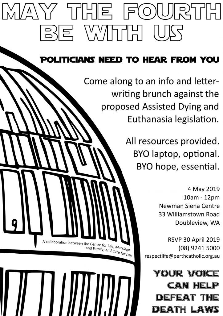 An information and letter writing brunch against the proposed Euthanasia legislation will be held at Newman Siena Centre in Doubleview on Saturday 4 May 10am to 12pm. Photo: Supplied.