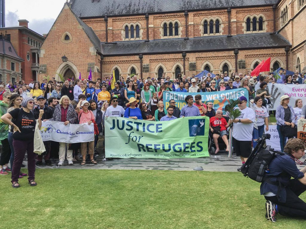 The event begun outside the Anglican St George's Cathedral at 1pm. Photo: Desire Mallet