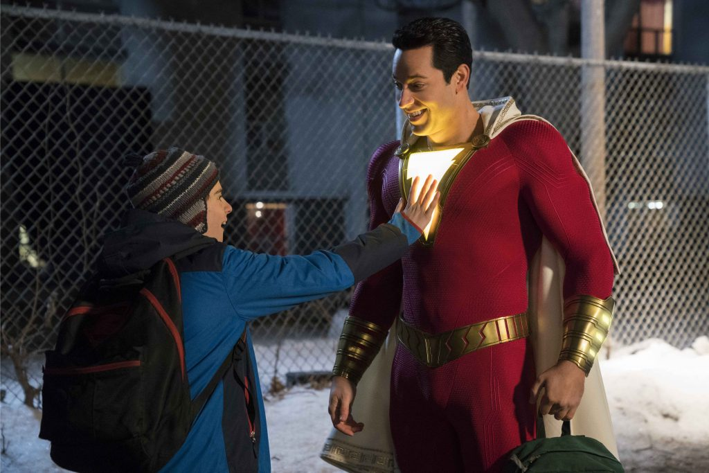 """Jack Dylan Grazer and Zachary Levi star in a scene from the movie """"Shazam"""". Photo: Warner Bros/CNS."""