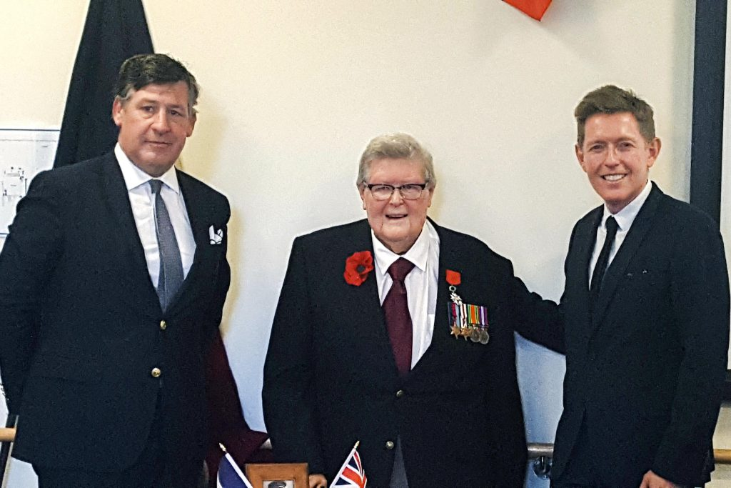Norman Walker receives his Legion of Honour medal. In WA, the organisation cares for more than 300 people across six residential aged care homes, with an additional 78 retirement living units. Photo: Supplied.