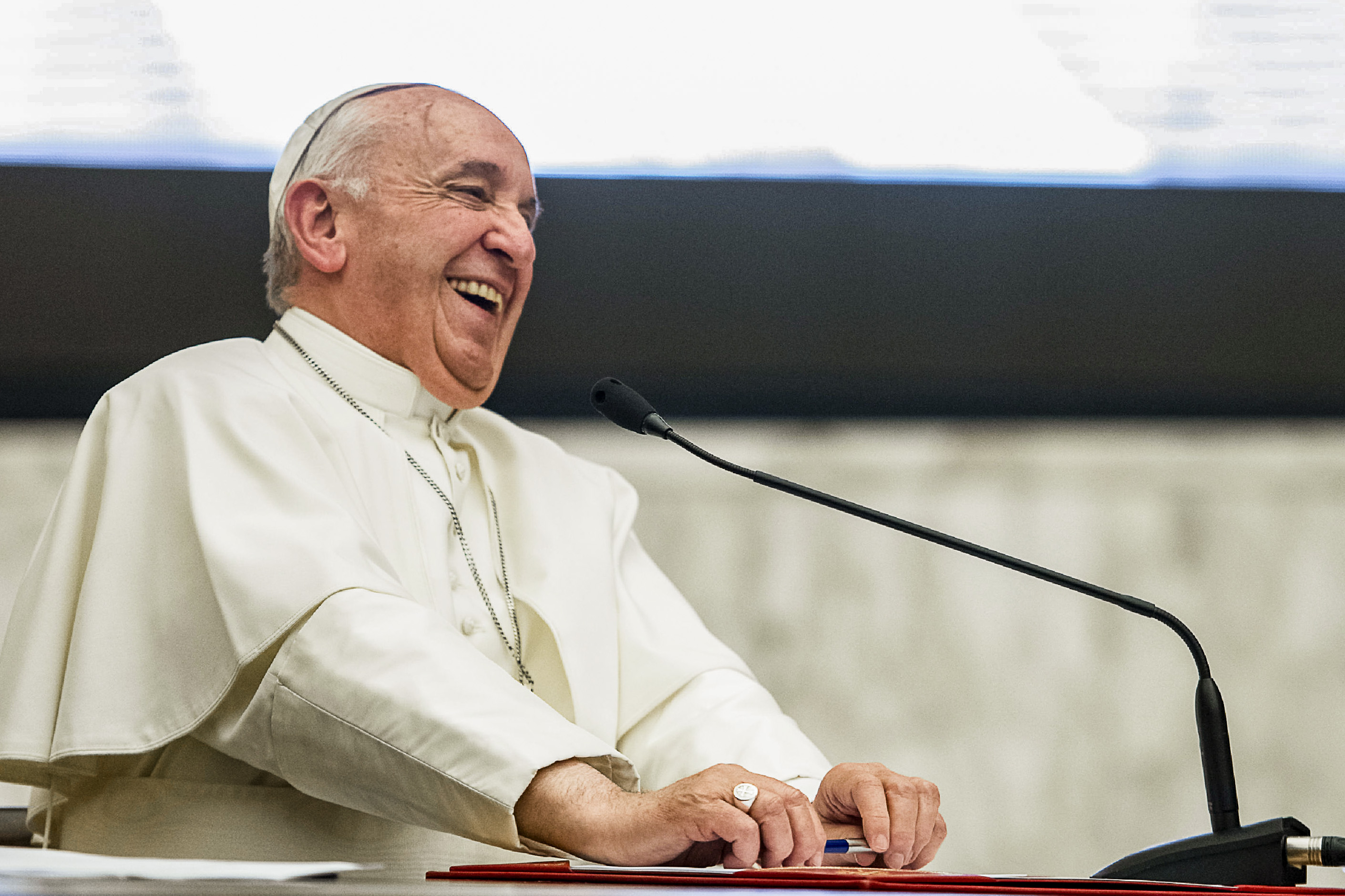 Pope Francis smiles during a meeting with 850 superiors general on 10 May 2019 at the Vatican, who were in Rome for the plenary assembly of the International Union of Superiors General. The organisation represents more than 450,000 sisters in more than 100 countries. Photo: Vatican Media/Reuters.