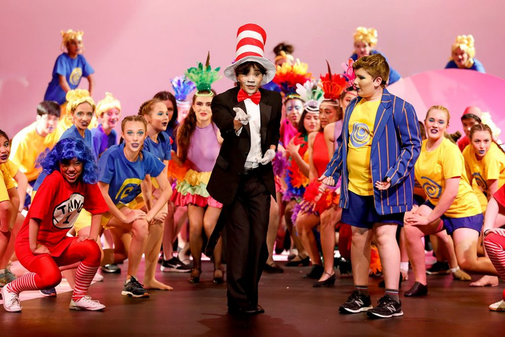 Le Vinh Tran channelled the character of Cat in the Hat is seen singing a song, supported by Harry Gordon playing Jojo and the rest of the cast of Chisholm College production Seussical that took place from 8 to 11 May at the college grounds. Photo: Chisholm College.
