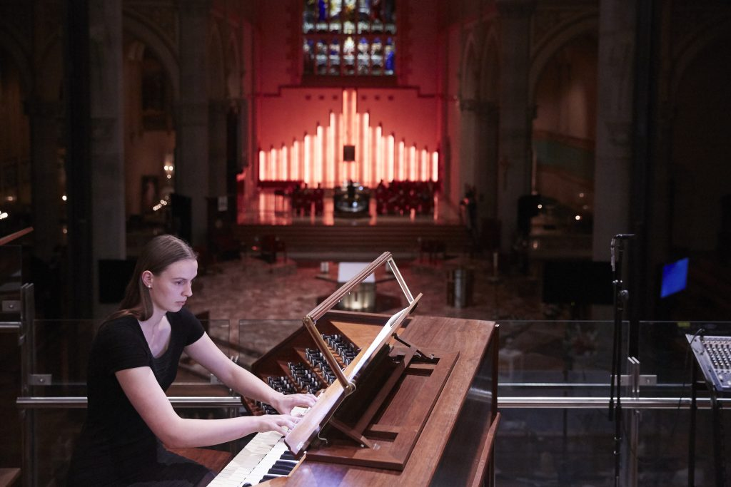 "Organist Pia Schelfhout plays at ""Resurrexit"" concert on 28 April at St Mary's Cathedral. Photo: Ron Tan."