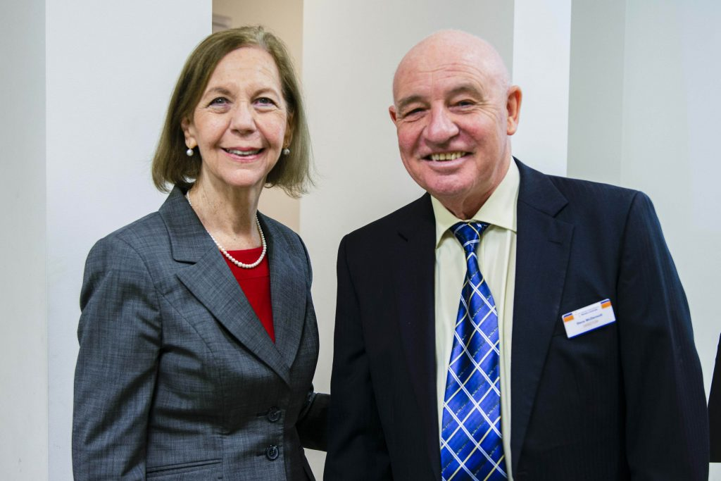 Manager Corporate Services Julie Fuge with Director of WA Catholic Social Services Steve McDermott at the launch of the Poverty Homelessness and Migrants in Western Australia Report. Photo: Eric Martin.