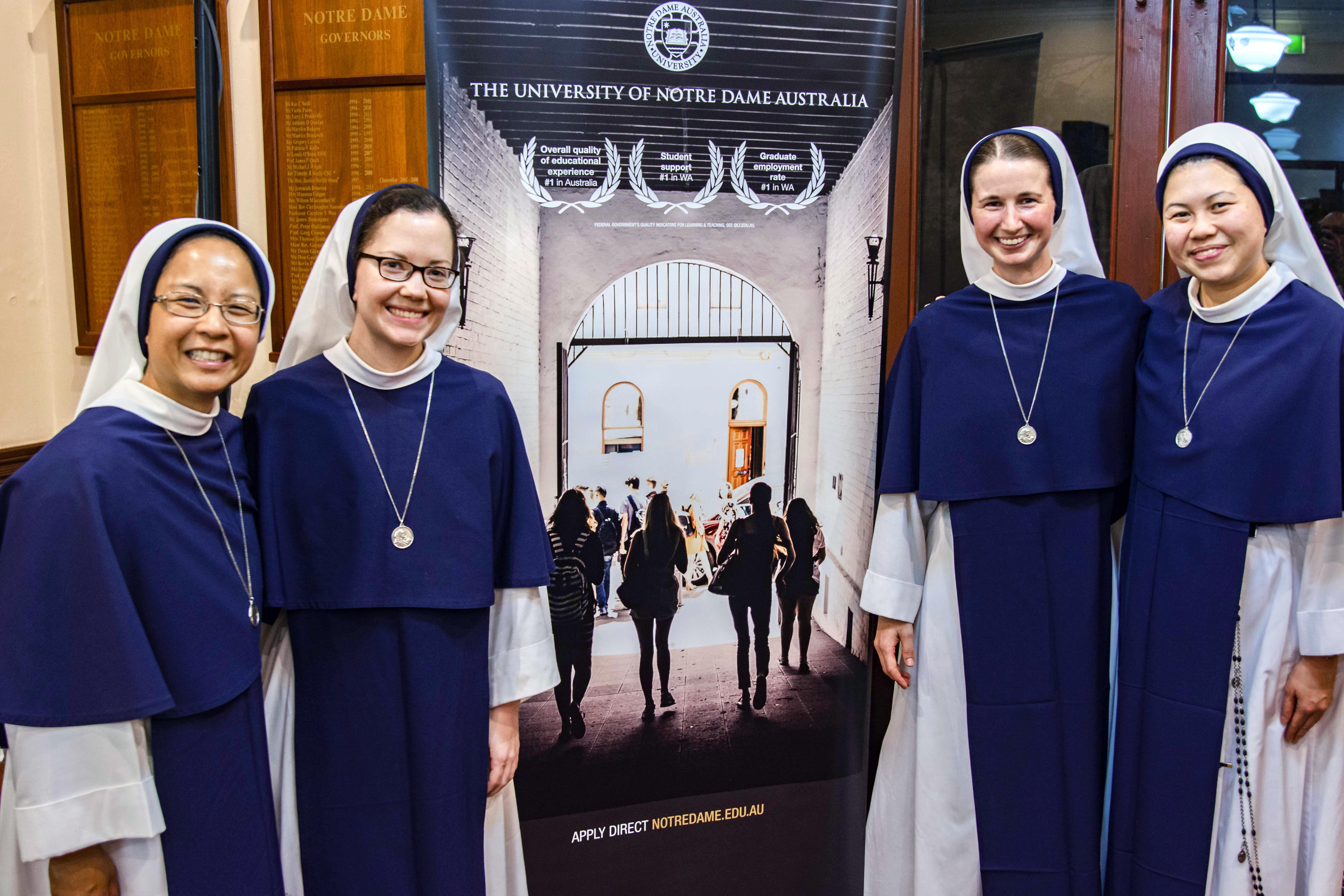 Sisters Antoniana Maria, Zelie Maria Louis, Mary Grace, and Jeanne Marie of the Sisters of Life. Photo: Eric Martin.