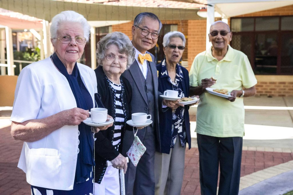 Original Castledare residents, Hilda Polglase, Elenor Hollis, Paul Ng, with Daphne and Charles Stephenson celebrate the anniversary at the morning tea on Tuesday 14 May. Photo: Olivia Bunter.