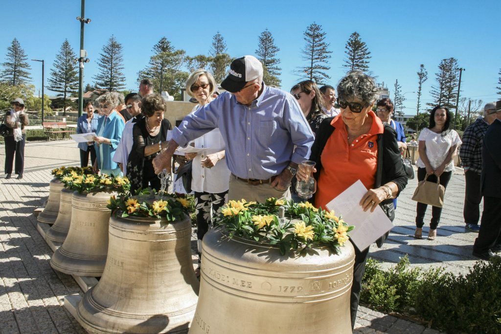 Parishioners inspect the new carillon bells for St Francis Xavier Catholic Cathedral, Geraldton. Photo: Supplied.