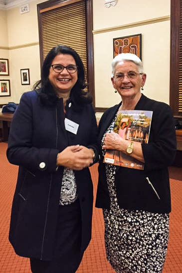 Catholic Education WA Executive Director and Caritas Advisory Committee Member Dr Debra Sayce stands next to Past Diocesan Caritas Perth Director Ann Fairhead at the Caritas book launch on 7 May. Photo: Supplied.