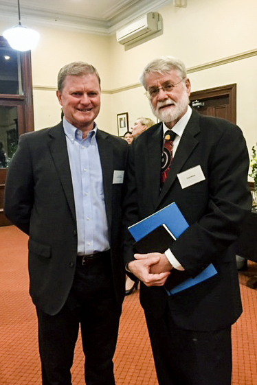 Caritas Australia National Council Member John Bouffler with Perth Archdiocese Vicar for Social Outreach, Dr Terry Wilson at the launch event on 7 May. Photo: Supplied.