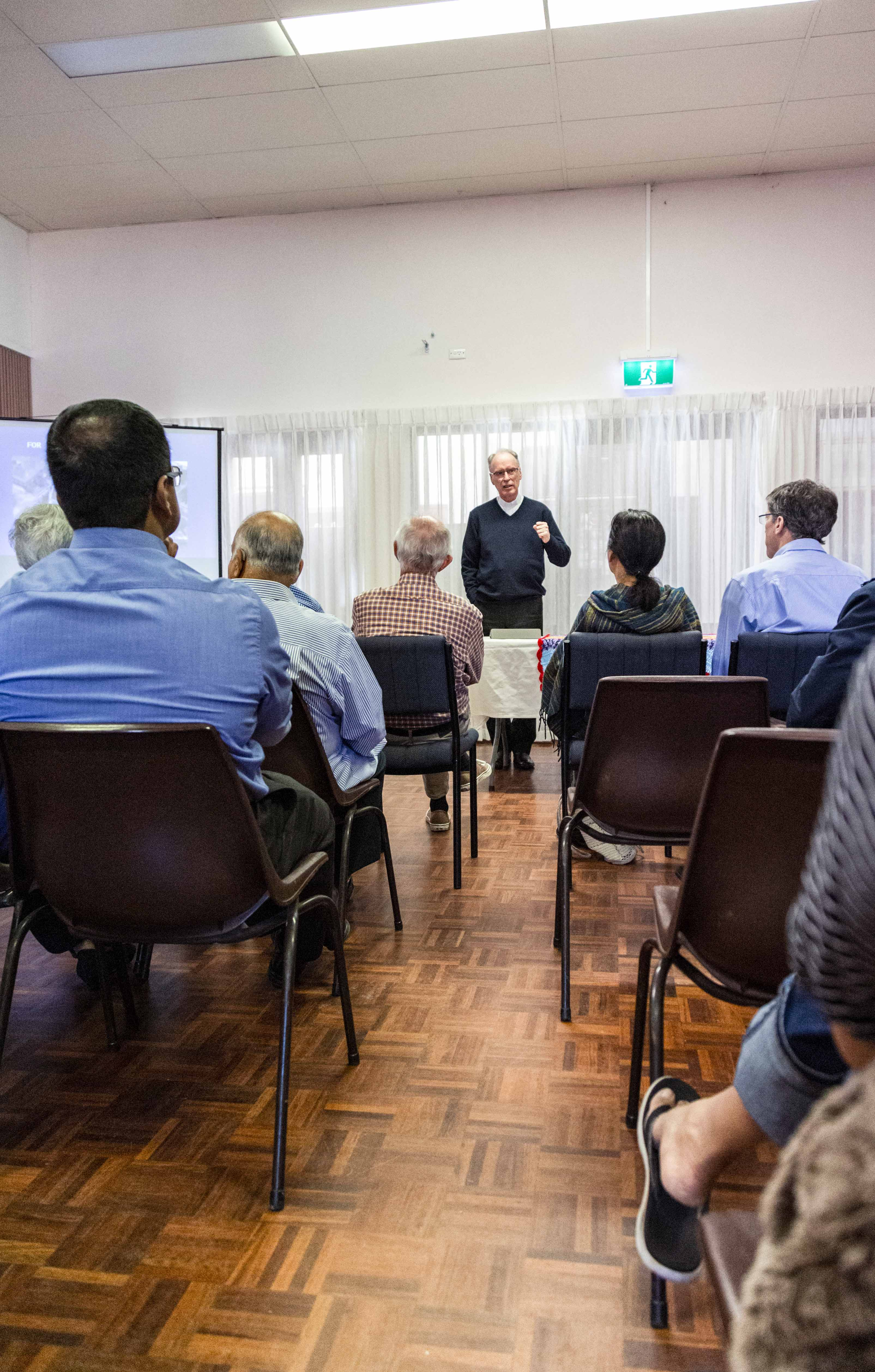 Bishop Donald Sproxton addressing representatives from Perth's parishes about the importance of connectivity and inclusivity in the church community. Photo: Jamie O'Brien.