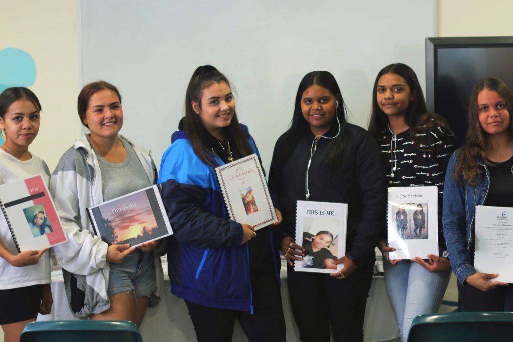 """Centacare's Skills for Education and Employment (SEE) Kadadjiny Bidi students have been working together this term to publishing a book that tells """"a little bit about me"""". Photo: Supplied."""