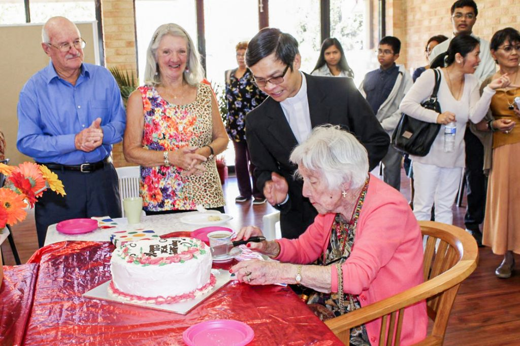 The Lathlain resident was a parishioner at St Mary's Cathedral for a number of years before following Fr Quynh to Cloverdale Parish. Photo: Sunil Rodrigues.