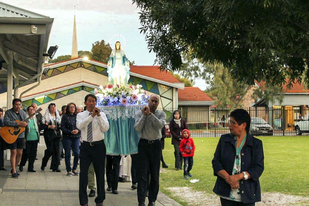 More than 30 parishioners gathered at the Cloverdale Parish to pay tribute to Mother Mary, as they participated in a procession while reciting the rosary on 11 May. Photo: Sunil Rodrigues.