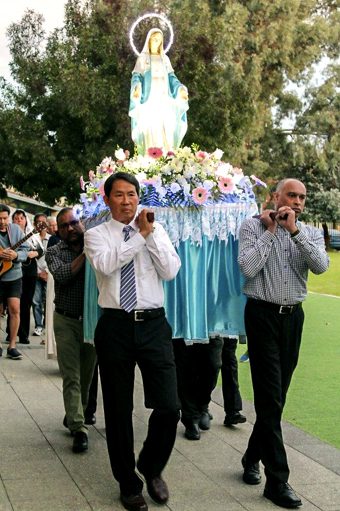 Cloverdale parishioners took part in a procession and recited the rosary, paying tribute to Mother Mary on 11 May. Photo: Sunil Rodrigues.