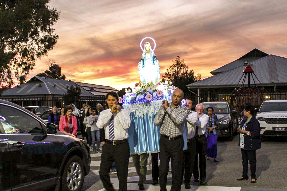A procession was held by the Notre Dame Church community to celebrate the first appearance of Our Lady of Fatima was held on 11 May. Photo: Sunil Rodrigues.