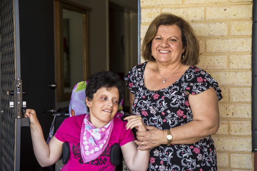 Carlisle mother Rosalba Costanza and her daughter Melissa, who receives care support through Identitywa. Photo: Jamie O'Brien.