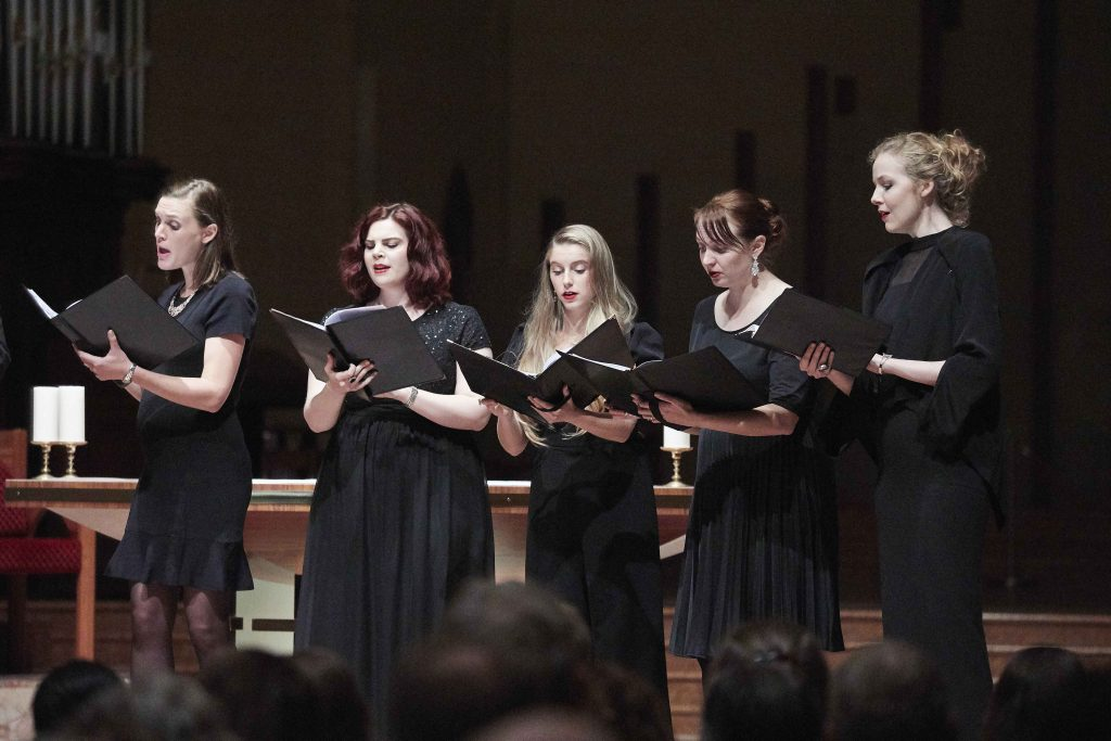 Some of the choir members singing their opening number Miserere mei, Deus by Gregorio Allegri at their concert held at St Mary's Cathedral on 5 May. Photo: Ron Tan.