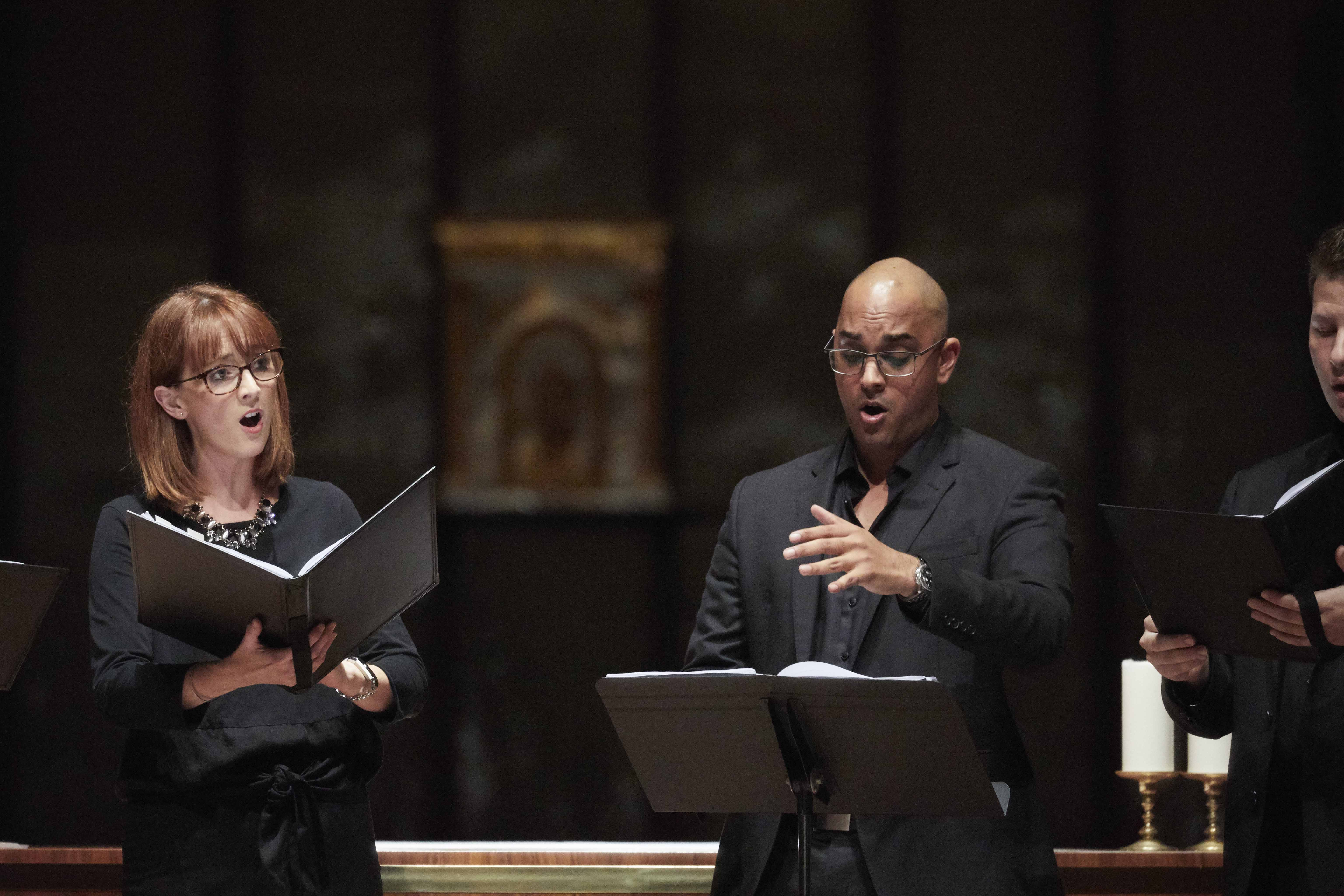 Music Director Cameron van Reyk played the role of conductor and bass singer at the Lumina concert held at St Mary's Cathedral on 5 May. Photo: Ron Tan.