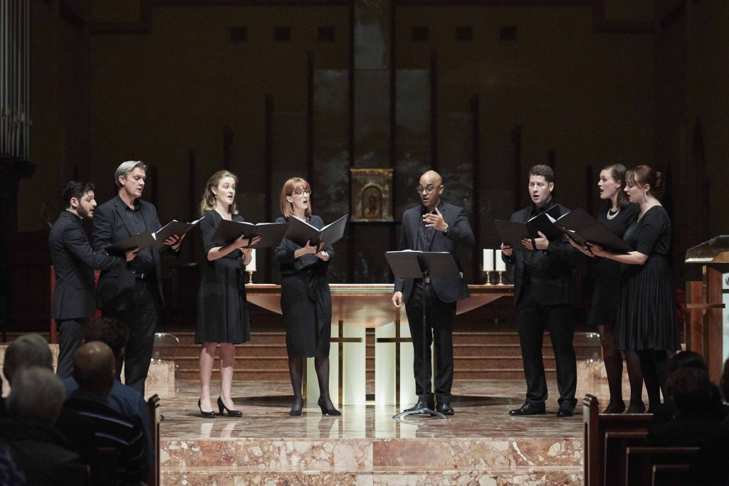 Eight piece Lumina choir performed 10 songs at their concert held at St Mary's Cathedral on 5 May titled Allegri's Miserere. Photo: Ron Tan.