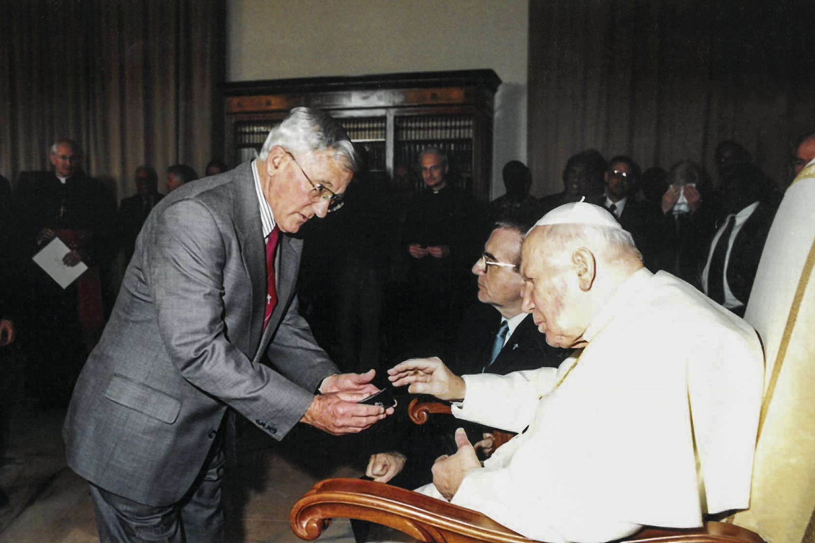 Br Gerry at an audience with the Pope John Paul II, in Rome. Photo: Supplied.