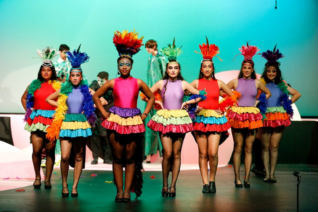 Kaluba Nonde (wearing pink) led the bird girls playing the character of Mayzie LaBird in the Chisholm College production Seussical from 8 to 11 May was held at the college grounds. Photo: Chisholm College.
