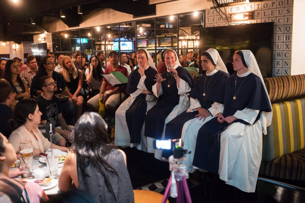 Four Sisters of Life speak at Notre Dame's Theology on Tap event in Sydney during their last visit to Australia in December 2015. Photo: Sourced.