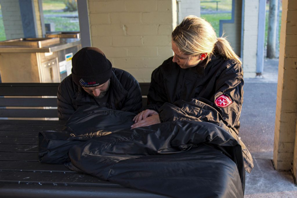 """The Order of Malta has initiated a project to provide some comfort to those sleeping rough, by distributing their specially designed """"Coats for the Homeless"""". Photo: Supplied."""