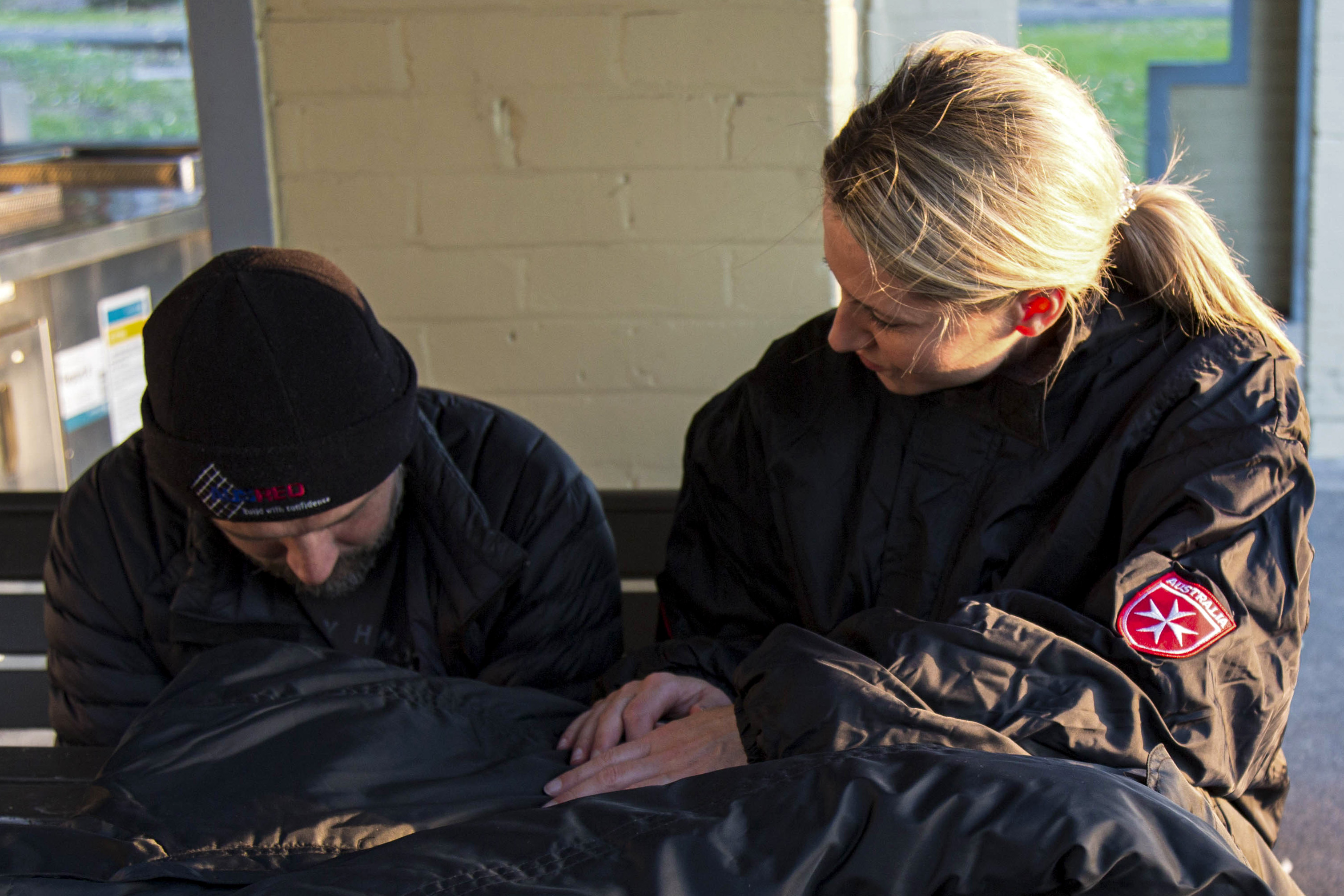 "The Order of Malta has initiated a project to provide some comfort to those sleeping rough, by distributing their specially designed ""Coats for the Homeless"". Photo: Supplied."
