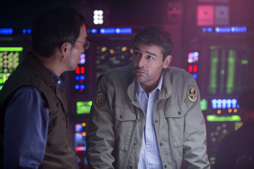 "Ken Watanabe and Kyle Chandler star in a scene from the movie ""Godzilla: King of the Monsters"". Photo: Warner Bros/CNS."