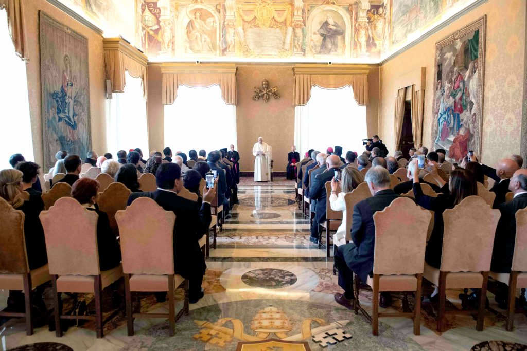 On 10 June, Pope Francis meets with a Vatican coalition of funding agencies, known by its Italian acronym ROACO. Photo: Vatican Media/Reuters.