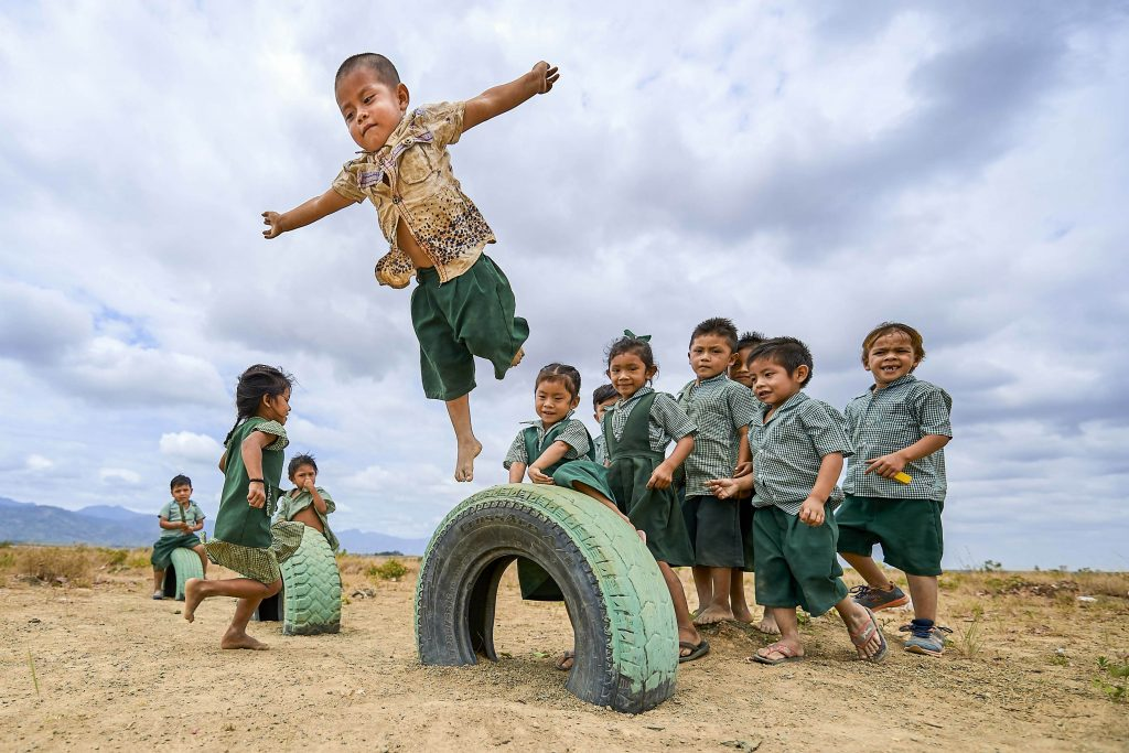 Children practice flying during school recess in Hiowa, Guyana on 4 April 2019. The Vatican was to release the working document for the Synod of Bishops for the Amazon on 17 June. Photo: Paul Jeffrey/CNS.