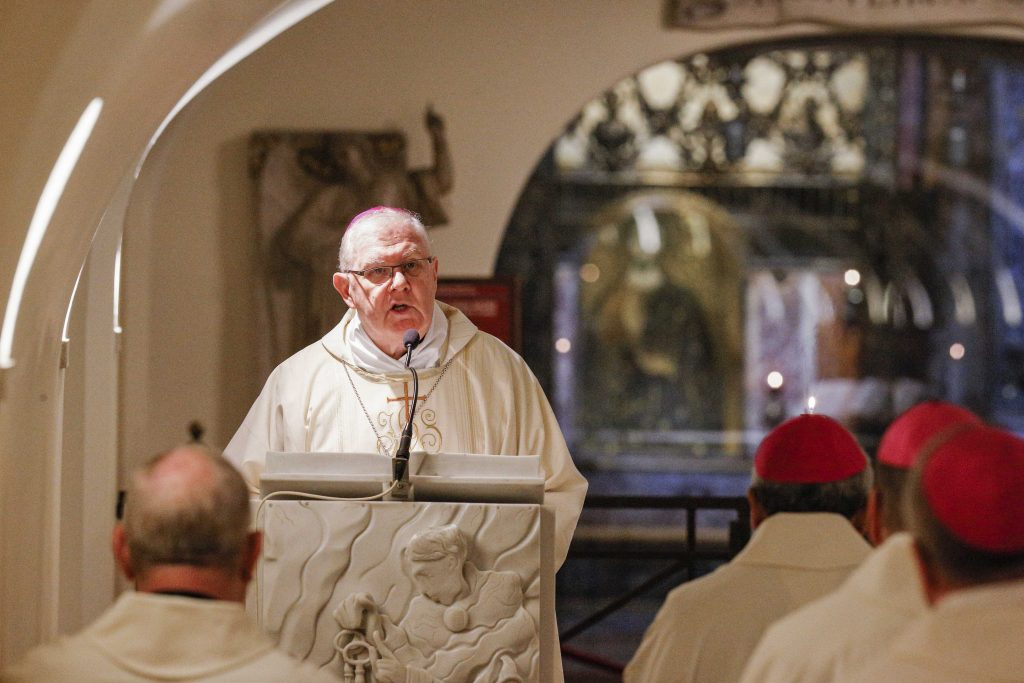 Archbishop Mark Coleridge, President of the Australian Catholic Bishops' Conference, gives the homily as Australian bishops concelebrate Mass in the crypt of St Peter's Basilica at the Vatican on 24 June 2019. Photo: CNS/Paul Haring.