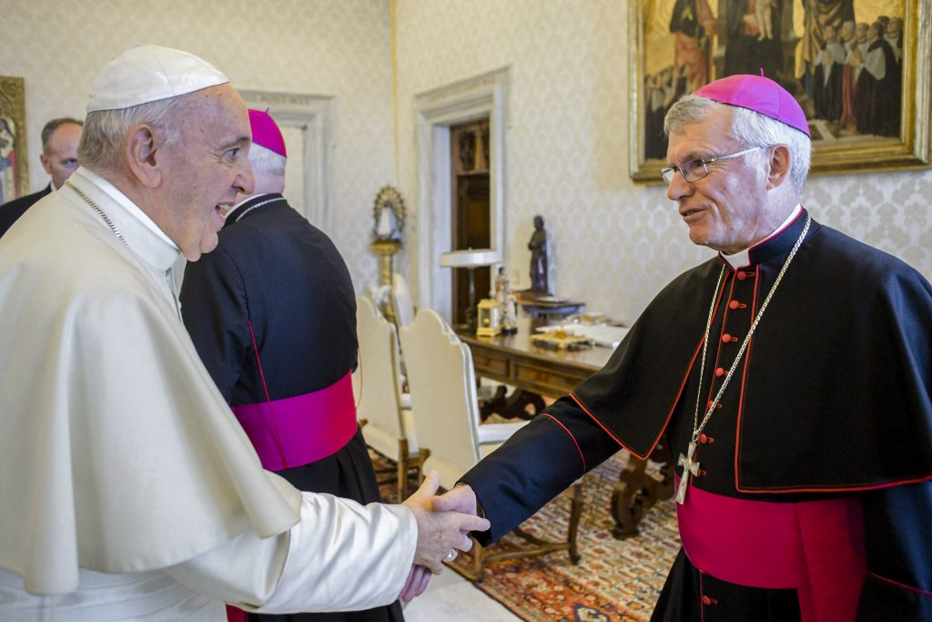 "Pope Francis greets Archbishop Timothy Costelloe of Perth, Australia, during a meeting with Australian bishops on their ""ad limina"" visits to the Vatican June 24, 2019. The bishops were reporting on the status of their dioceses. Photo: CNS/Vatican Media."