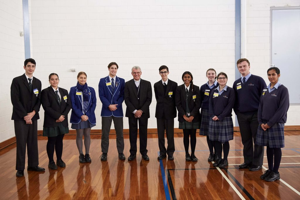 Perth Archbishop Timothy Costelloe stands with his newly formed Special Project Committee at the 2019 Secondary Schools Forum for LifeLink Day at Aranmore Catholic College on 28 May. Photo: Ron Tan.