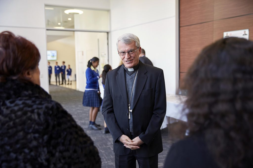 Archbishop Costelloe meeting with guests at his 2019 LifeLink Day for Primary Schools Official Launch. Photo: Ron Tan.