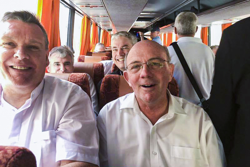Bishop Timothy J Harris takes a selfie with Bsp Michael Morrissey, Bsp Richard Umbers, and Bsp James Foley on route to their Rome retreat. Photo: Bishop Timothy J Harris/Facebook.