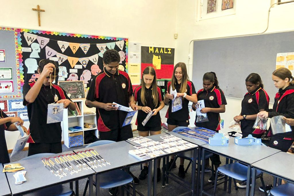 Year 7 students making hospital packs, as part of their Christian Service Learning, for Aboriginal Catholic Ministry. Photo: Supplied.