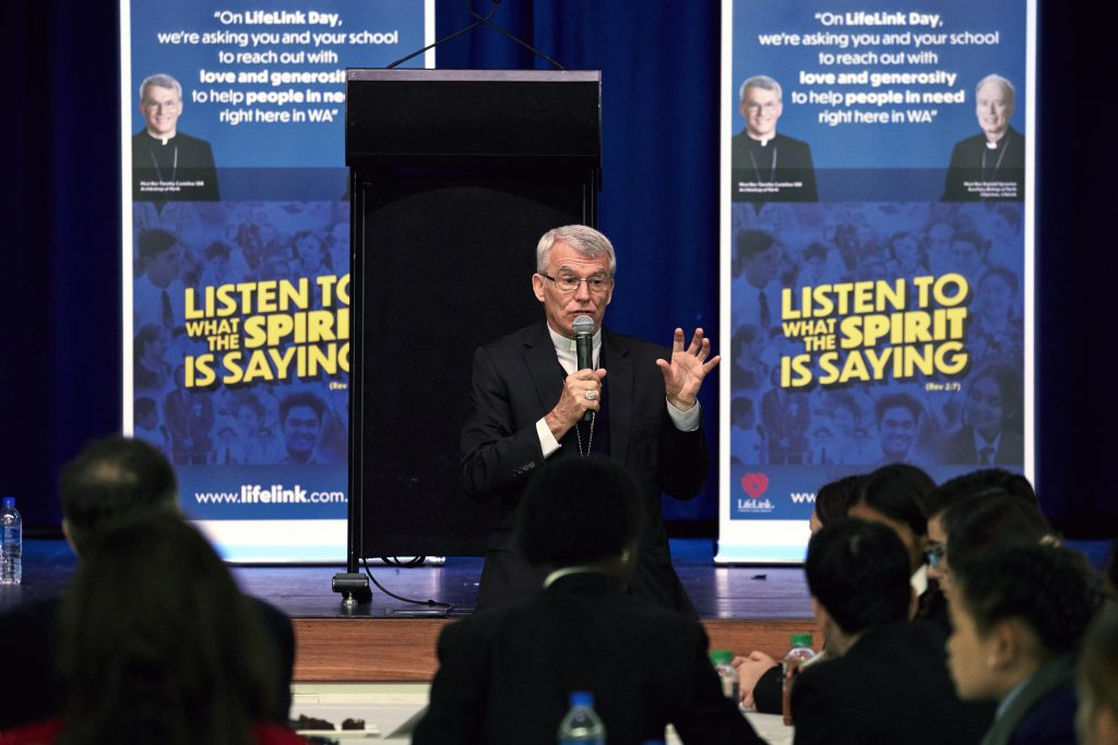 Archbishop Costelloe answered questions posed by the students at the 2019 Secondary Schools Forum for LifeLink Day held at Aranmore Catholic College on 28 May. Photo: Ron Tan.
