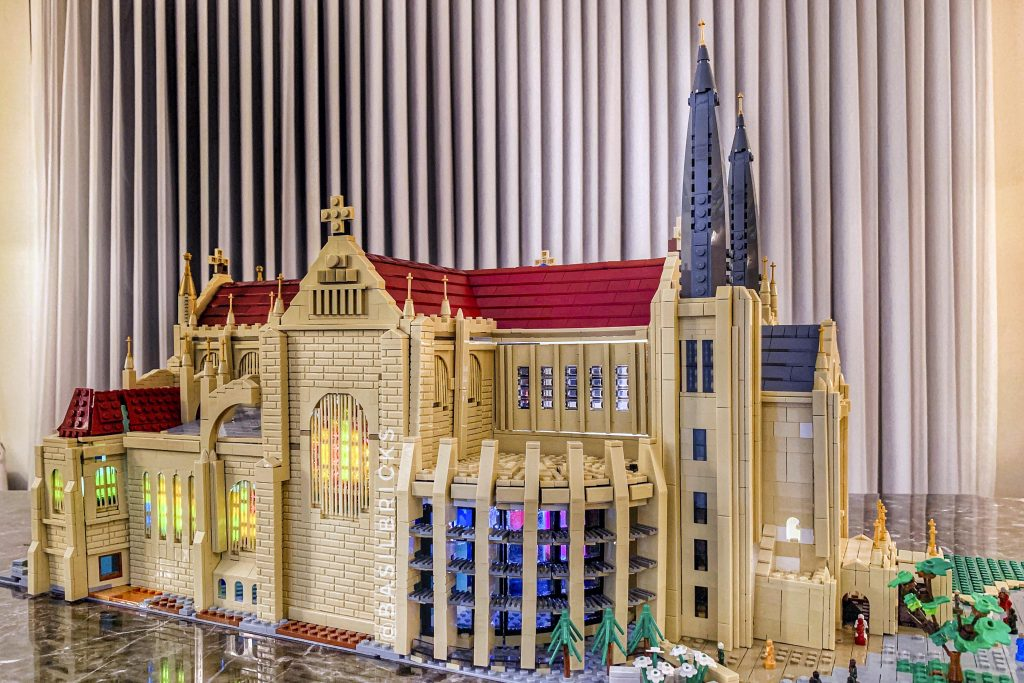 It took David Lefort one-month plus more than 8800 pieces of LEGO bricks to replicate the structure of St Mary's Cathedral. Photo: David Lefort.