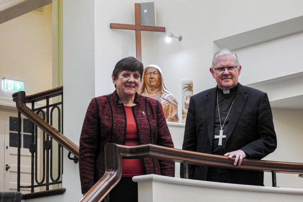 Catholic Religious Australia president Monica Cavanagh RSJ pictured with Australian Catholic Bishops Conference president Archbishop Mark Coleridge. Photo: Supplied.