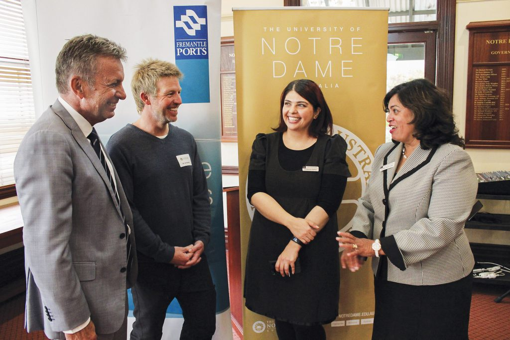 From left: Fremantle Ports Chief Executive Chris Leatt-Hayter, Port Services Officer Scott Bowden, Notre Dame Industry Engagement Coordinator Dr Bahareh Badrian, and UNDA Pro Vice Chancellor Prof Selma Alliex. Photo: Supplied.